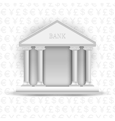 Bank icon on background of symbols currency vector