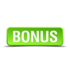 Bonus green 3d realistic square isolated button vector image