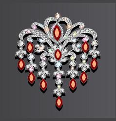 Brooch with precious stones vector