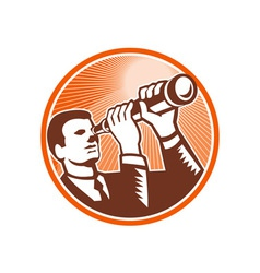 Businessman holding looking telescope woodcut vector