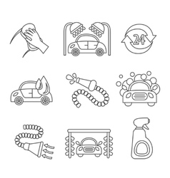 Car wash icons outline vector