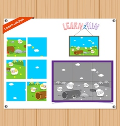 Cartoon of education jigsaw puzzle game for vector