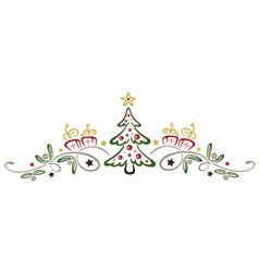 Christmas tree mistletoe vector image