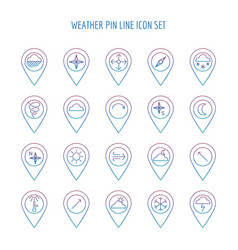 Colorful weather line pin collection vector