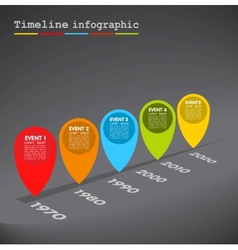 Dark infographic timeline colorful bubbles vector