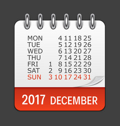 december 2017 calendar daily icon vector image vector image