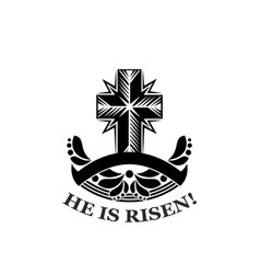 easter he is risen church cross icon vector image vector image