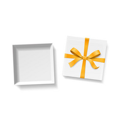Empty open gift box with gold color bow knot and vector