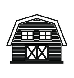 Farm house in black simple style isolated on white vector