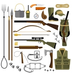 Flat of hunting gear and vector