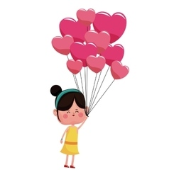 Girl with balloons pink hearts valentine vector