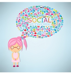 Girls think social network buzz words vector