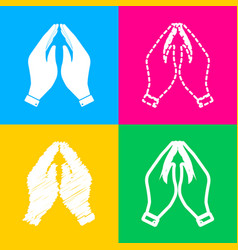 Hand icon prayer symbol four styles vector