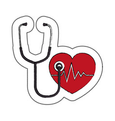 Heart cardiology and stethoscope symbol icon vector