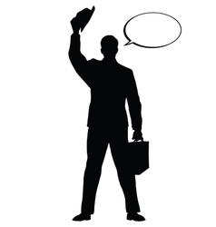 Hello businessman hat gesture black silhouette vector image