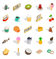 liquor icons set isometric style vector image