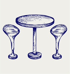 Modern bar table with two chairs vector image vector image