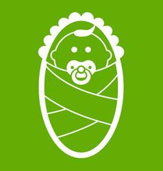 Newborn icon green vector