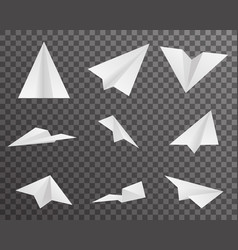 origami paper airplanes icons set symbol vector image