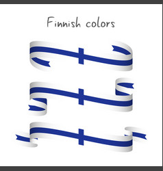 set of three ribbons with the finnish colors vector image