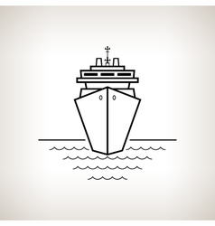 Silhouette cruise ship on a light background vector image