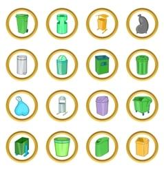 Trashcan set cartoon style vector