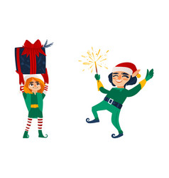 Two christmas elves with a present and a sparkler vector