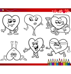 valentine cartoons for coloring vector image vector image