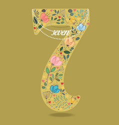 Yellow number seven with floral decor and necklace vector