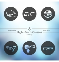 Set of high-tech glasses icons vector
