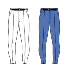 Unisex outlined template skinny jeans vector