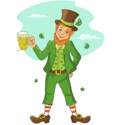 Friendly leprechaun with beer for st patricks day vector