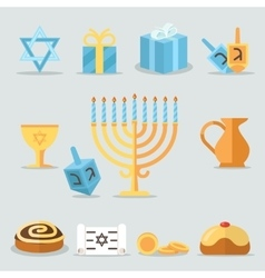 Jewish holidays hanukkah flat icons with menorah vector