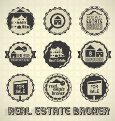 Vintage Real Estate Labels and Icons vector image