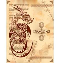 Furious dragon drawing on old vintage book page vector