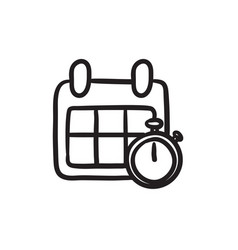 calendar and stopwatch sketch icon vector image