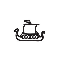 Old ship sketch icon vector