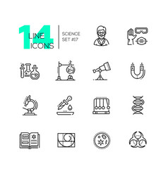 Science - modern single line icons set vector
