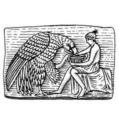 Ganymeth and eagle ancient antique scene vintage vector