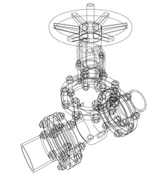 Industrial valve rendering of 3d vector