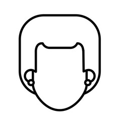 Outlined head faceless girl with earrings image vector