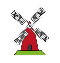 color image cartoon farm windmill vector image