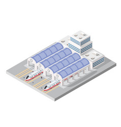 isometric high-speed train on the tracks in the vector image