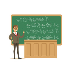 Young university teacher near the blackboard with vector