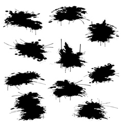Black ink blots set vector