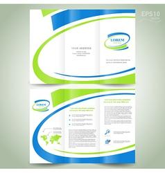 Brochure design template green blue line vector