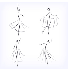 Set of symbolic ballet dancers vector