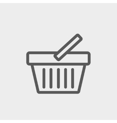 Shopping basket thin line icon vector