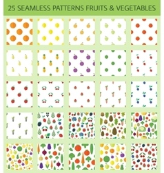 Seamless patterns with fruits and vegetables vector