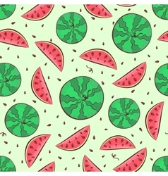 Watermelon seamless pattern with whole watermelon vector